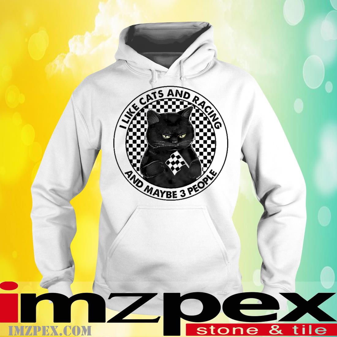 Black Cat I like Cats and Racing and maybe 3 people hoodie